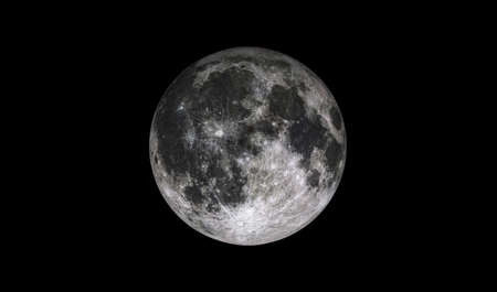 Full moon isolated on black space. Bright lunar moonlight satelite. Close up craters on moon. 3D rendering.