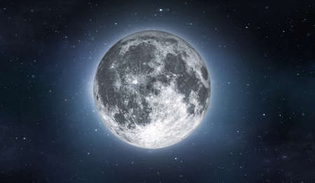 Full moon on sky with stars. Image in high resolution. Bright lunar satelite. 3D rendering.