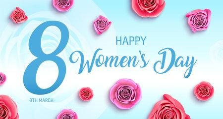 Women's Day holidays banner. 8-th march international womens day card illustration. Standard-Bild