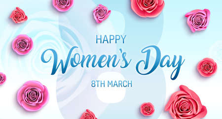 Women's Day holidays banner. 8-th march is a international womens day, poster, card illustration.