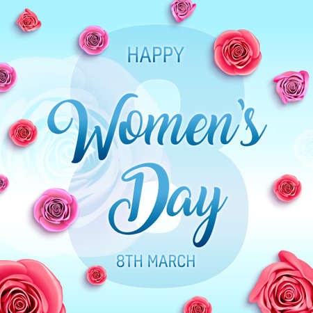 Women's Day holidays banner. 8-th march international womens day square card illustration.