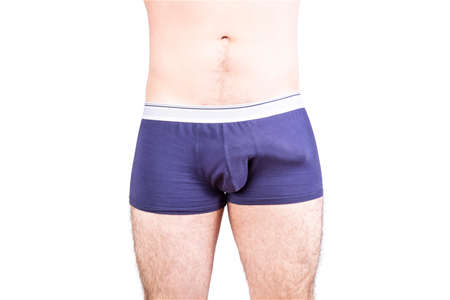 Man penis erection in underwear. Penis size and potency concept.