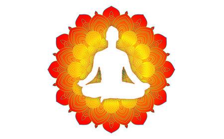 Mandala with man meditation zen silhouette. Buddhism awakening and mindfulness symbol.