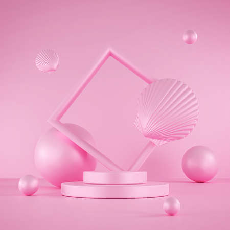 Pink pastel podium 3d abstract shapes. Modern showcase platform for product presentation. Floor and stage pink background. 3D rendering. Standard-Bild