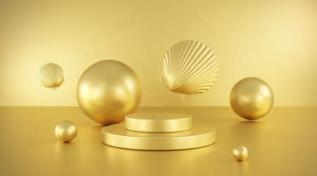 Gold pastel podium 3d abstract shapes. Modern showcase platform for product presentation. Floor and stage gold background. 3D rendering.