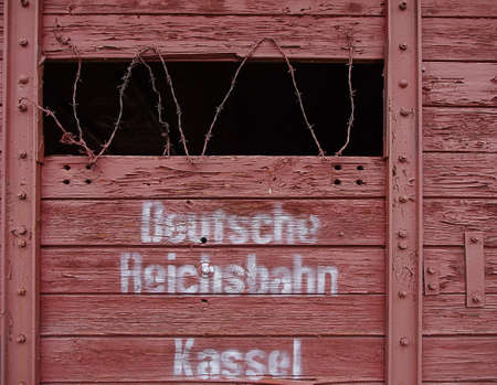 deported: Radegast- station from here to eternity. POLAND. LODZ. 014. September 2014 Rail wagon with barbed drytem from the Radegast station in Lodz. THUS, the Nazis deported the Jewish population of Lodz to death camps.