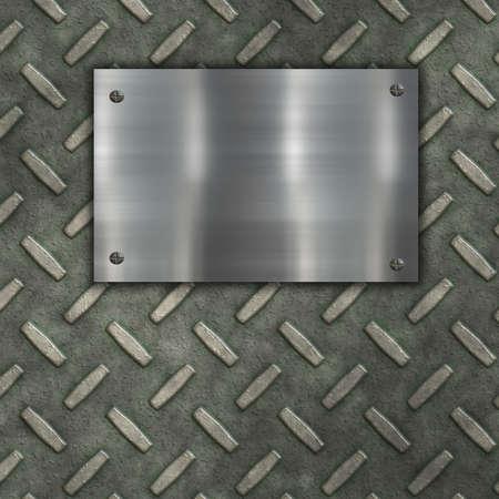 polished floor: metal banner