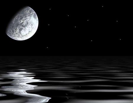 moon and sea Stock Photo