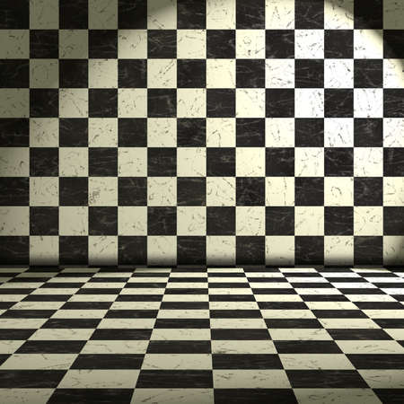 tile flooring: black and white room Stock Photo