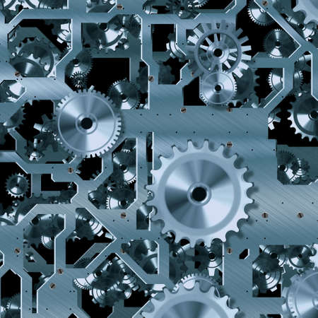 robotic transmission: Abstract background with metallic gears Stock Photo