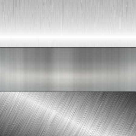 brushed aluminium: metal banners Stock Photo