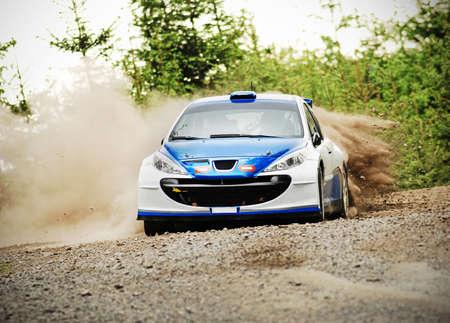 Rally auto in actie