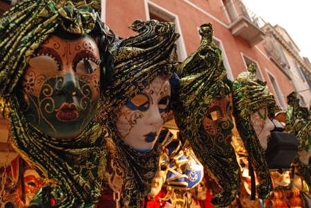 Il dettaglio delle maschere di Venezia, Italia