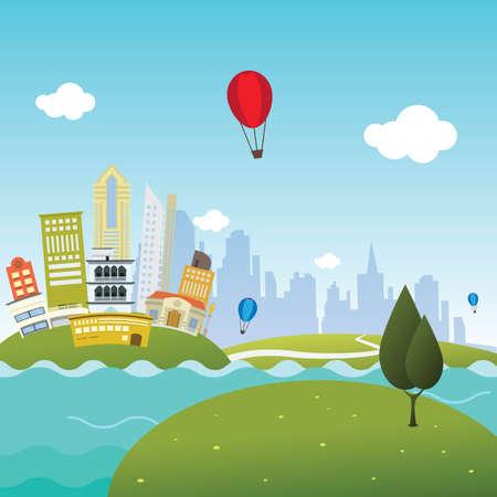 青い湖の風景。都市の景観、ベクトル平面イラストと近代的な都市。夏背景デザイン。  イラスト・ベクター素材
