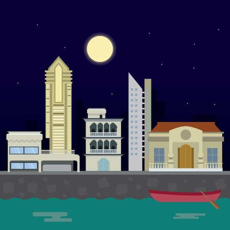 夜市の風景。都市の景観、ベクトル平面イラストと近代的な都市。夜背景デザイン。  イラスト・ベクター素材