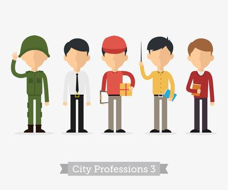ocupation: Vector Set of Professions in flat design. People occupation characters man set in flat style Illustration