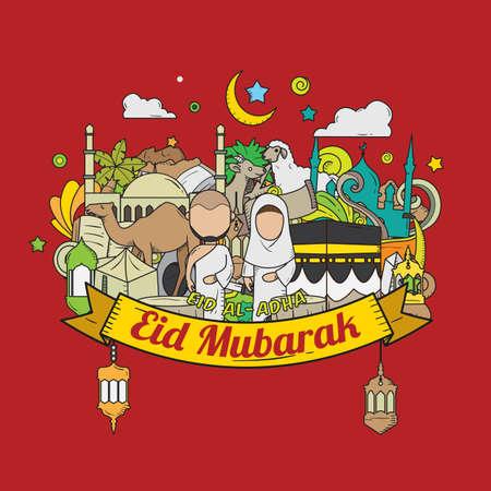 Eid al adha hand drawn sketch with red background eid mubarak eid al adha hand drawn sketch with red background eid mubarak doodles hajj m4hsunfo