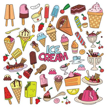 Ice Cream Doodle Design Vector