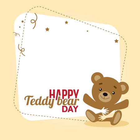 Happy Teddy Bear Day Vector Illustration. Suitable for Greeting Card, poster and banner.