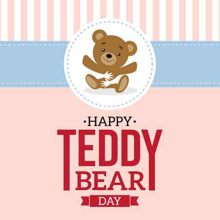 적합: Happy Teddy Bear Day Vector Illustration. Suitable for Greeting Card, poster and banner.