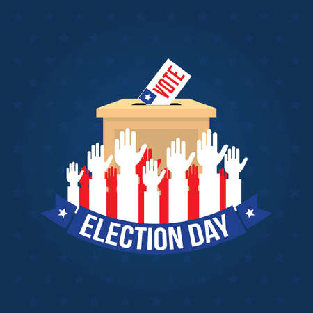 Happy Election Day Vector Illustration. Suitable for greeting card, poster and banner.