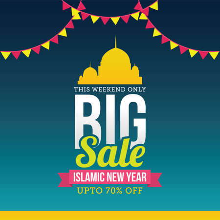 Big Sale Islamic New Year Vector Illustration. Suitable for greeting card, poster and banner.