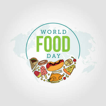 World Food Day Vector Illustration. Suitable for greeting card, poster and banner. 向量圖像