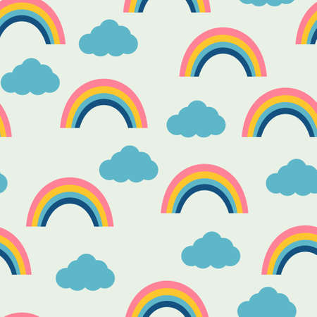 rainbow sky: Seamless pattern with rainbows and clouds. Vector illustration.