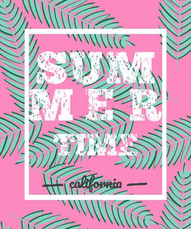 Summer time, print or web banner. Vector illustration.