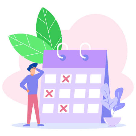 Modern vector illustration. Work teams create online schedules on tablets. graphic design scheduling business tasks for this week.