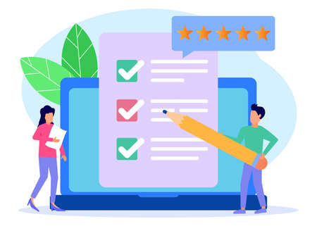 Vector Illustration. Person Character Fill Test on Customer Survey Form. a woman and a man tick off the checklist. Customer Experience and Satisfaction Concept. Vektoros illusztráció