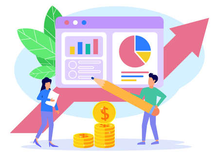 Flat isometric vector illustration isolated on white background. Financial administration concept with character. Business people with their analysis.