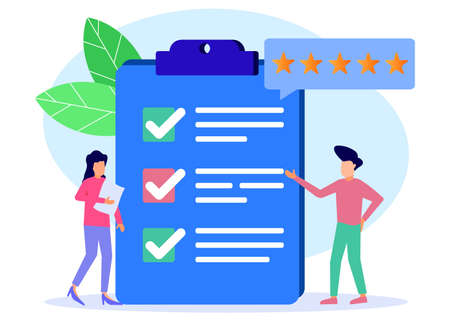 Vector Illustration. Person Character Fill Test on Customer Survey Form. a woman and a man tick off the checklist. Customer Experience and Satisfaction Concept.