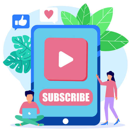 Modern style vector illustration. Subscribe now, channel subscribe red button, phone with online newsletter, email marketing system Suitable for web landing pages, ui, mobile apps, banner templates.
