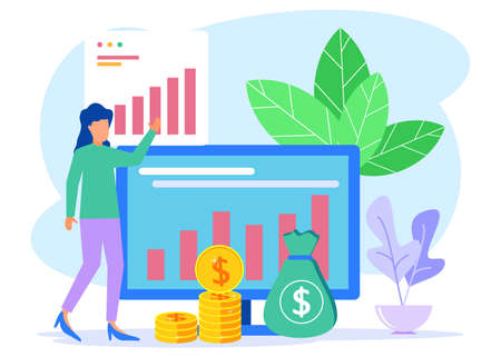 Vector illustration of business concept, return on investment, business people managing financial charts, profit income, suitable for web landing pages, ui, mobile apps, banner templates. Vettoriali