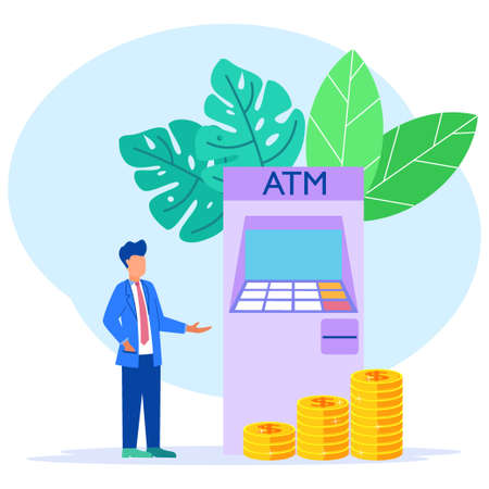 Modern concept vector illustration. Entrepreneurs with formal suits make money withdrawals at ATMs, manage investments in cards. Cash withdrawal from ATMs