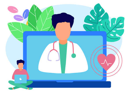 Flat style vector illustration. The young man consulted doctors online using his computer, telemedicine and online doctor concepts.