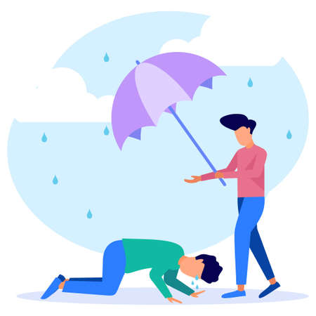 Vector illustration of business concept, support for those under stress, a young man holding an umbrella from the rain to another person in a state of depression due to failure. Vector Illustratie