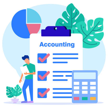 Vector illustration of business concepts, business people with developments in accounting and auditing. These designs can be used for websites, landing pages, UI, mobile apps, posters, banners.