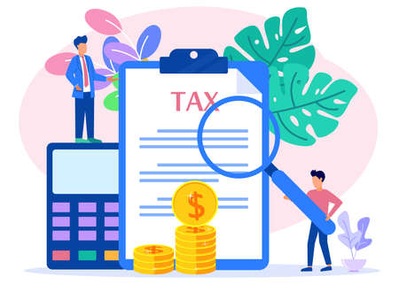 Modern vector illustration. The concept of online tax payments, people filling out tax forms, obedient entrepreneurs pay taxes. Business profit that reaches the target.