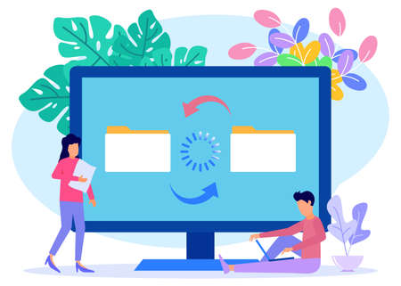 Modern style Vector illustration. File sharing person characters, encrypted transfer, documentation transfer, Suitable for web landing pages, ui, mobile applications, banner templates. Ilustración de vector