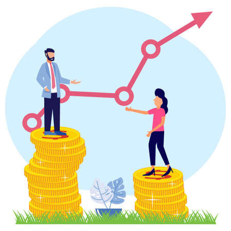 Vector illustration of a business concept, 2 business women and men standing on a pile of coins symbolizing salary levels. Gender gaps and inequalities in wages. Sexism and discrimination. Vecteurs