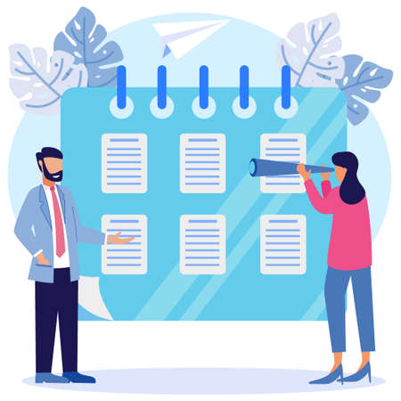 Vector illustration of a business concept. the character of the person creates business schedules and other agendas. vector, scheduling business graphic design assignments on a week.