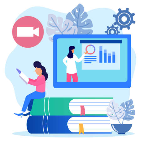 The young woman is studying at home with his laptop with a pile of books and a PC in the background. E-learning, webinars, online video training, distance education concepts. Modern vector illustration. Vector Illustration