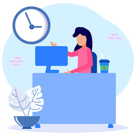Cartoon Flat Illustration Vector Busy Business Woman or Freelance Worker Working Laptop Sitting at Workplace Desk Thinking of Assignments. Brainstorm Freelance Outsourcing Worker Jobs.