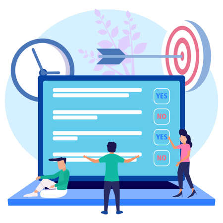 Modern style vector illustration. Online survey, online voting, online survey technology concept with people and laptop with checklist. Yes No list. For web banners, prints, infographics.