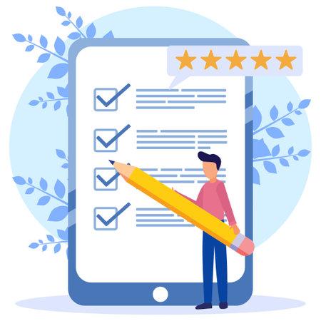 Modern style Vector illustration. Person Character Fill Test on Customer Survey Form. The man ticks the checklist. Customer Experience and Satisfaction Concept. Vektoros illusztráció