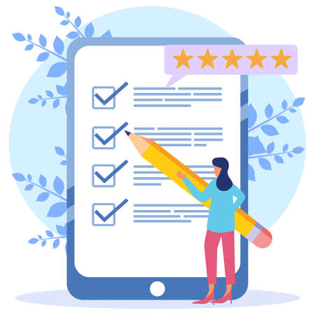Modern style Vector illustration. Person Character Fill Test on Customer Survey Form. Woman Checks Checklist. Customer Experience and Satisfaction Concept.