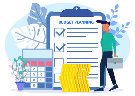 Vector illustration of business concept, budget planning, financial analyst on checklist paper, new financial plan chart data, balance sheet financial statements. Expenditures and income.