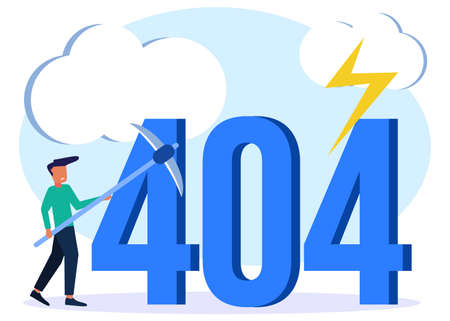 Vector illustration of business concept, error 404, Internet signal is interrupted, unavailable, businessperson annoyed and disappointed.